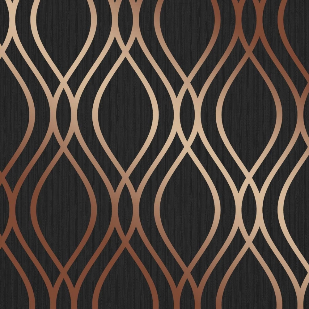 Henderson Interiors Camden Wave Wallpaper Charcoal Copper