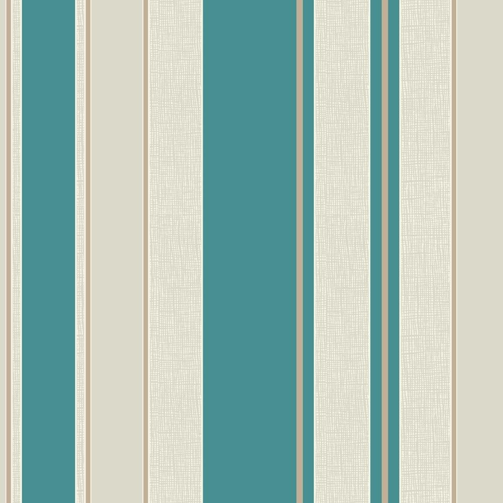 Fine Decor Cameo Stripe Wallpaper Teal Cream FD30695