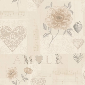 Camille Amour Floral Montage Wallpaper Beige, Cream (97817)