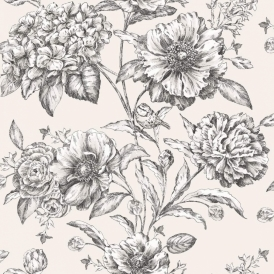 Camille Cordelia Floral Wallpaper Black, White (97834)