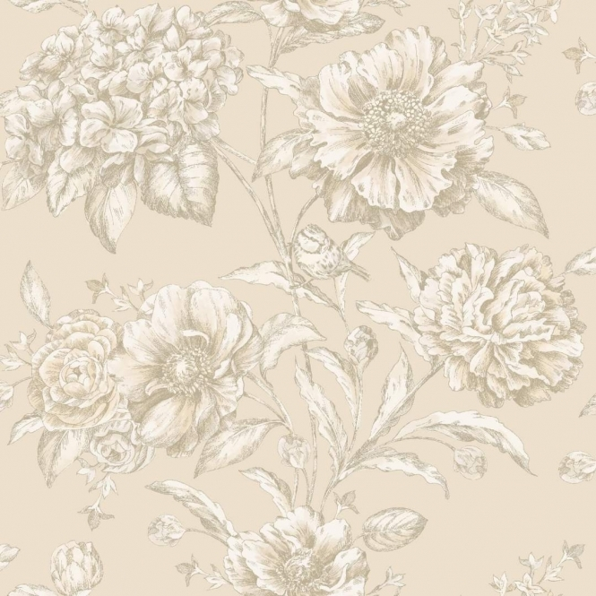 Camille Cordelia Floral Wallpaper Neutral (97830)