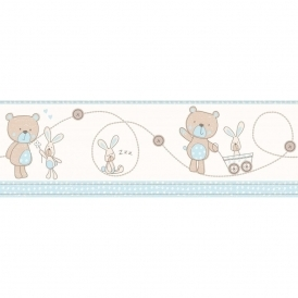 Carousel Bear and Boo Border Blue (DLB50072)
