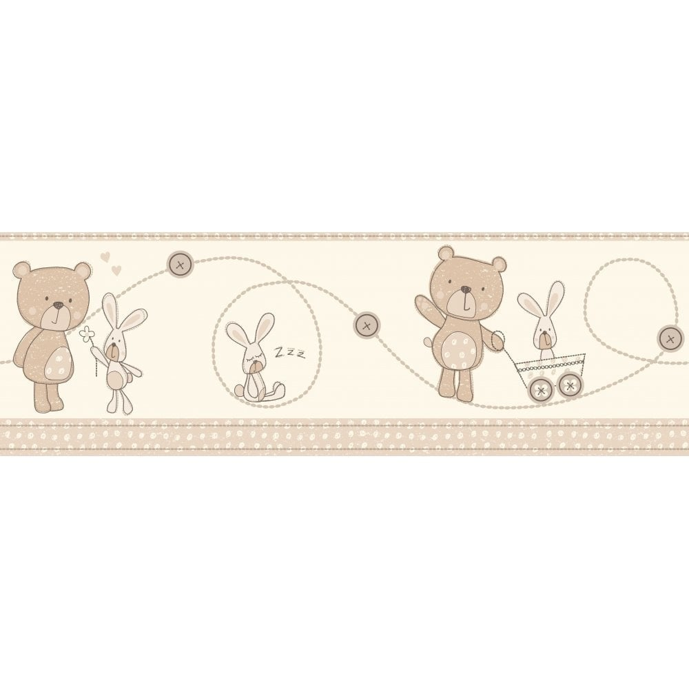 Decorline Carousel Bear And Boo Border Natural Dlb50070