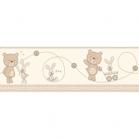 Carousel Bear and Boo Border Natural (DLB50070)