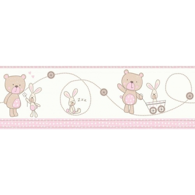 Decorline Carousel Bear and Boo Border Pink (DLB50073)