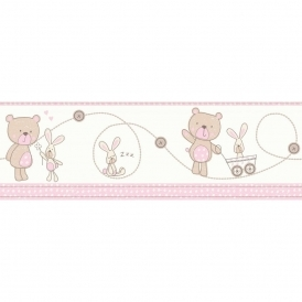 Carousel Bear and Boo Border Pink (DLB50073)
