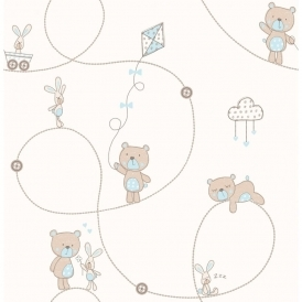 Carousel Bear & Boo Childrens Wallpaper Blue / Light Beige (DL21102)