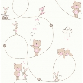 Carousel Bear & Boo Childrens Wallpaper White Pink Beige