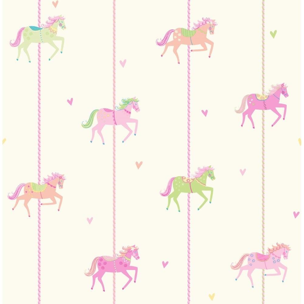 Decorline carousel childrens wallpaper multi cream pink for Childrens wallpaper