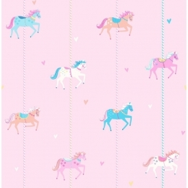Carousel Childrens Wallpaper Pink Blue White