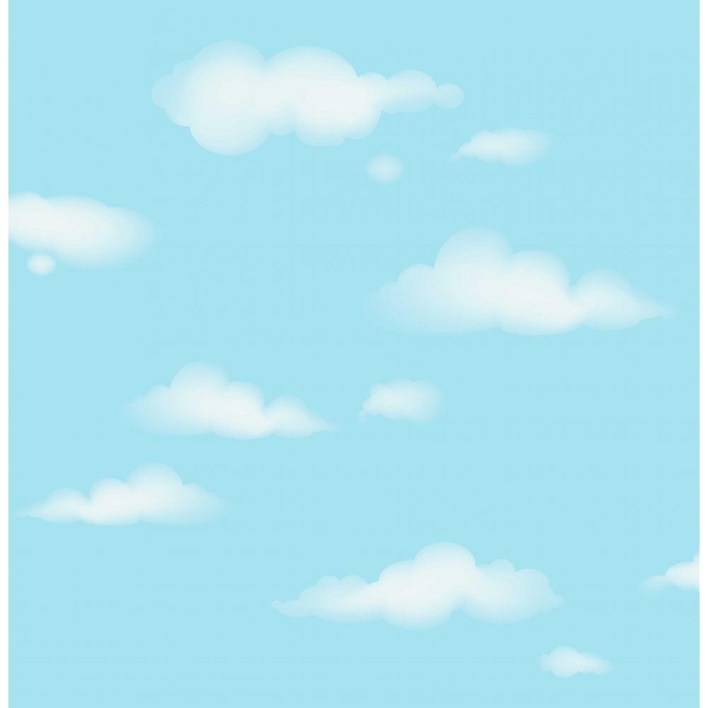Carousel Clouds Wallpaper Blue White