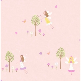 Carousel Fairy Garden Childrens Wallpaper Pink