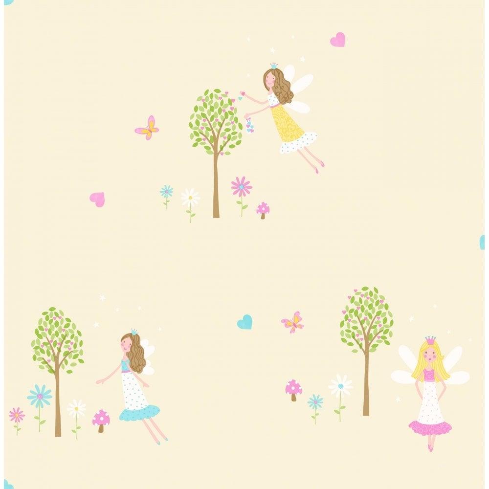 Decorline carousel fairy garden childrens wallpaper yellow for Childrens wallpaper