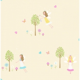 Carousel Fairy Garden Childrens Wallpaper Yellow (DL21128)