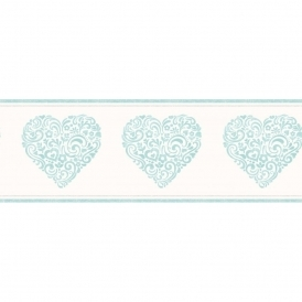 Carousel Pearlescent Hearts Border Blue (DLB50077)