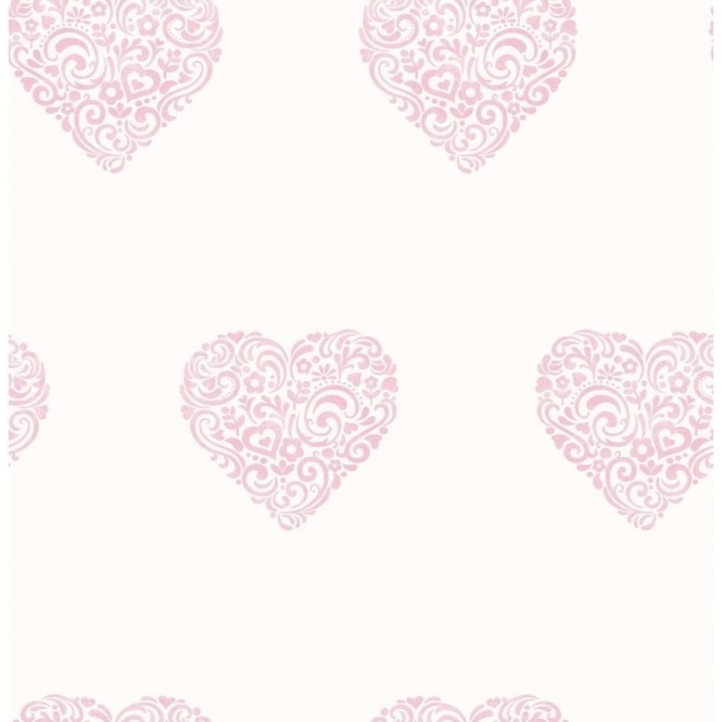 Decorline Carousel Pearlescent Hearts Wallpaper Pink / White (DL21115)
