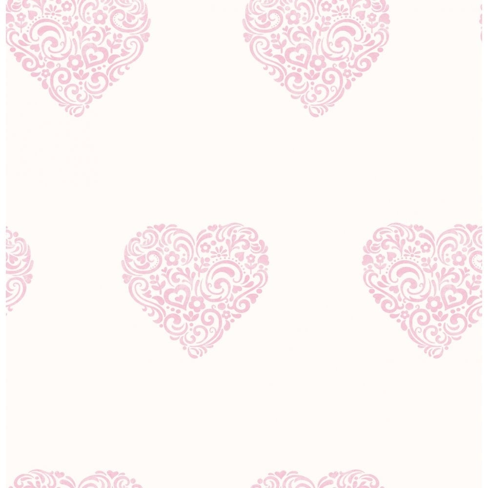 Carousel Pearlescent Hearts Wallpaper Pink White