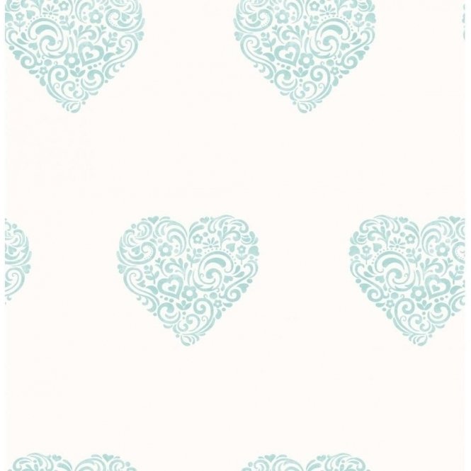 Decorline Carousel Pearlescent Hearts Wallpaper Teal, White (DL21113)