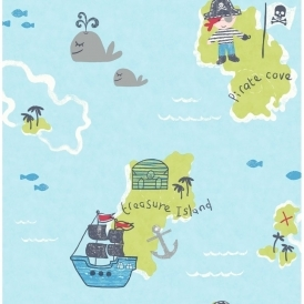 Carousel Pirates Childrens Wallpaper Blue / Green (DL21139)