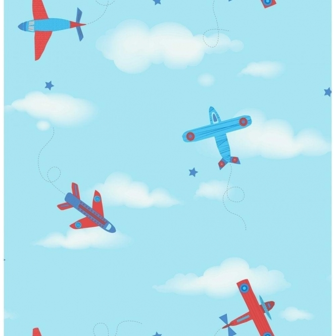 Decorline Carousel Planes Childrens Wallpaper Blue Red