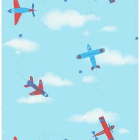 Carousel Planes Childrens Wallpaper Blue / Red (DL21134)
