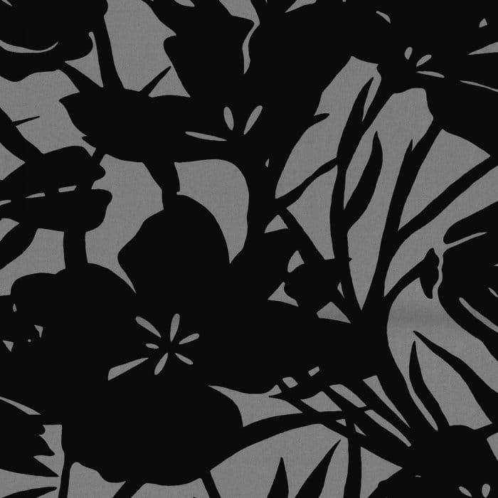 Casadeco Ikebana Genuine Flock Wallpaper Black Silver
