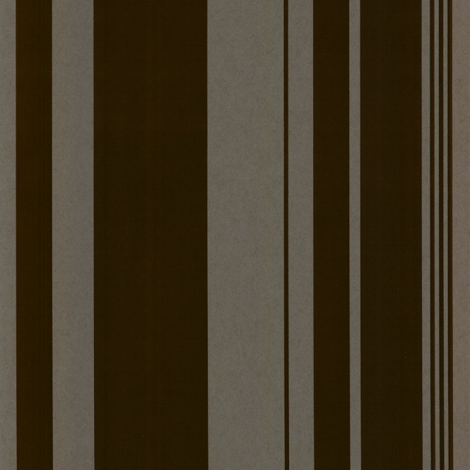 Casadeco Sidney Stripe Flock Wallpaper Chocolate, Brown (14931502)