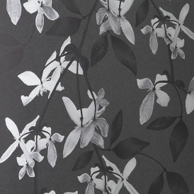 Cascade Hand Screen Printed Floral Wallpaper Ivory Black