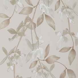Cascade Hand Screen Printed Floral Wallpaper Sand