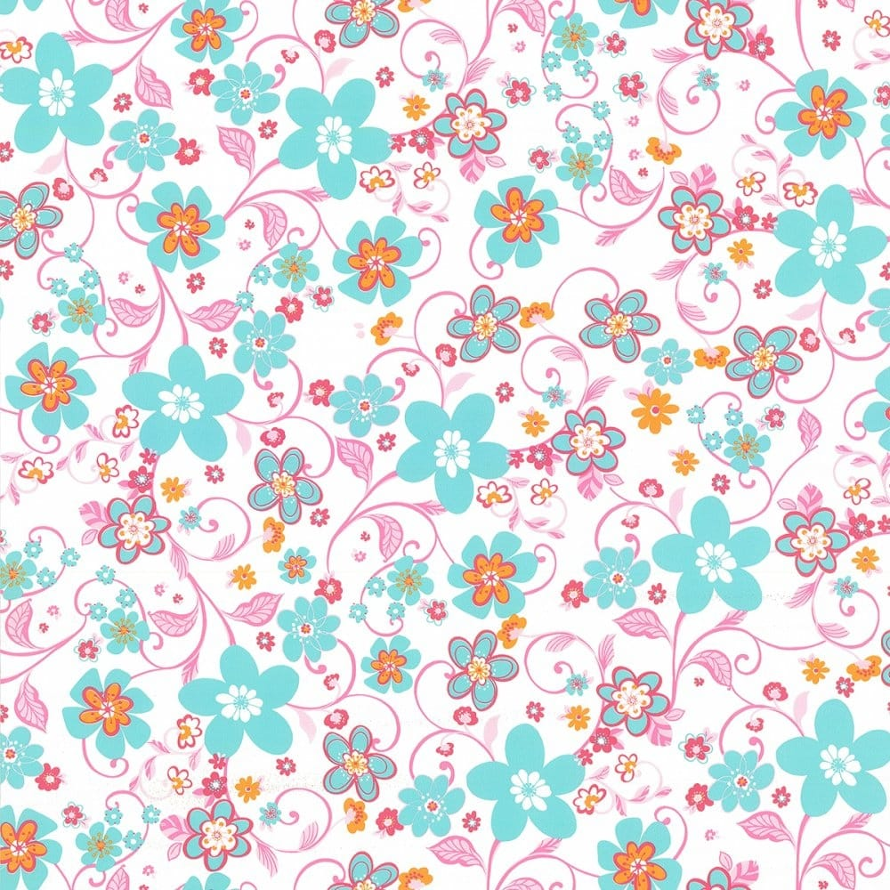 Caselio Flower Power Floral Wallpaper White / Aqua / Pink / (51626121 ...