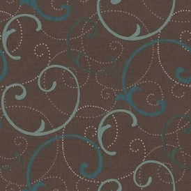 Celeste Swirls Wallpaper Teal, Brown (805901)
