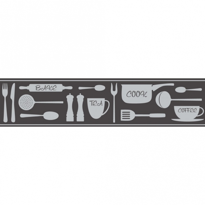 Fine Decor Ceramica Cook Tea Coffee Metallic Self Adhesive Border Black / Silver (FDB50046)