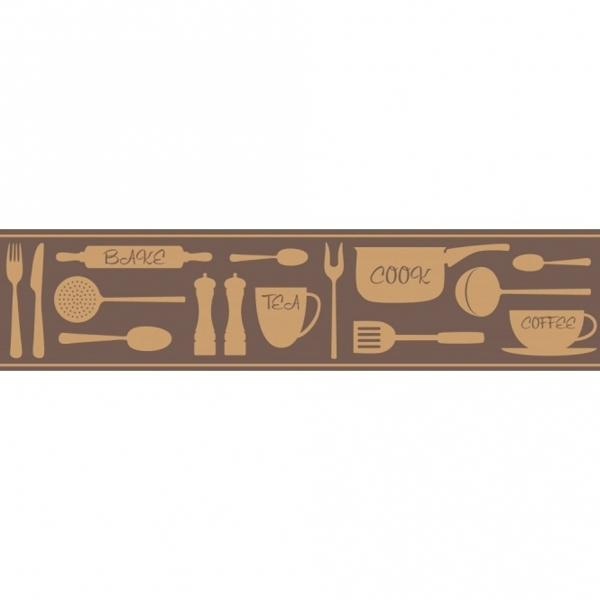 Fine Decor Ceramica Cook Tea Coffee Metallic Self Adhesive Border Brown / Gold (FDB50045)
