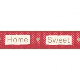 Ceramica Home Sweet Home Self Adhesive Border Red / Cream (FDB50048)