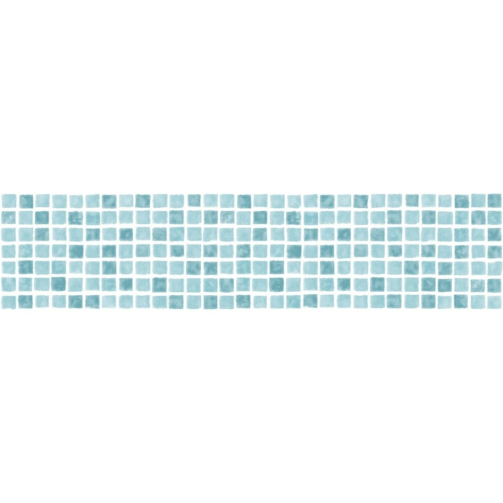 Fine Decor Ceramica Mosaic Tile Self Adhesive Border Aqua