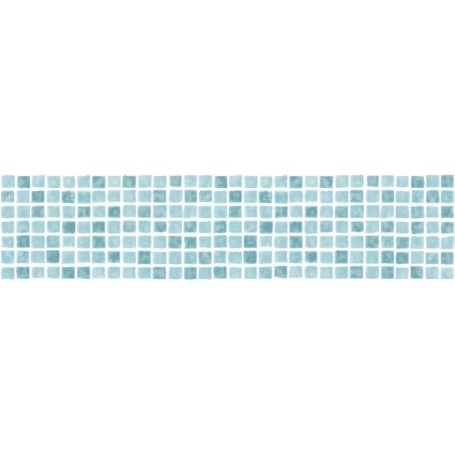 Fine decor ceramica mosaic tile self adhesive border aqua for White adhesive wallpaper