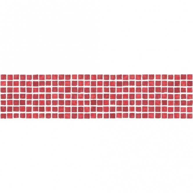 Fine Decor Ceramica Mosaic Tile Self Adhesive Border Red