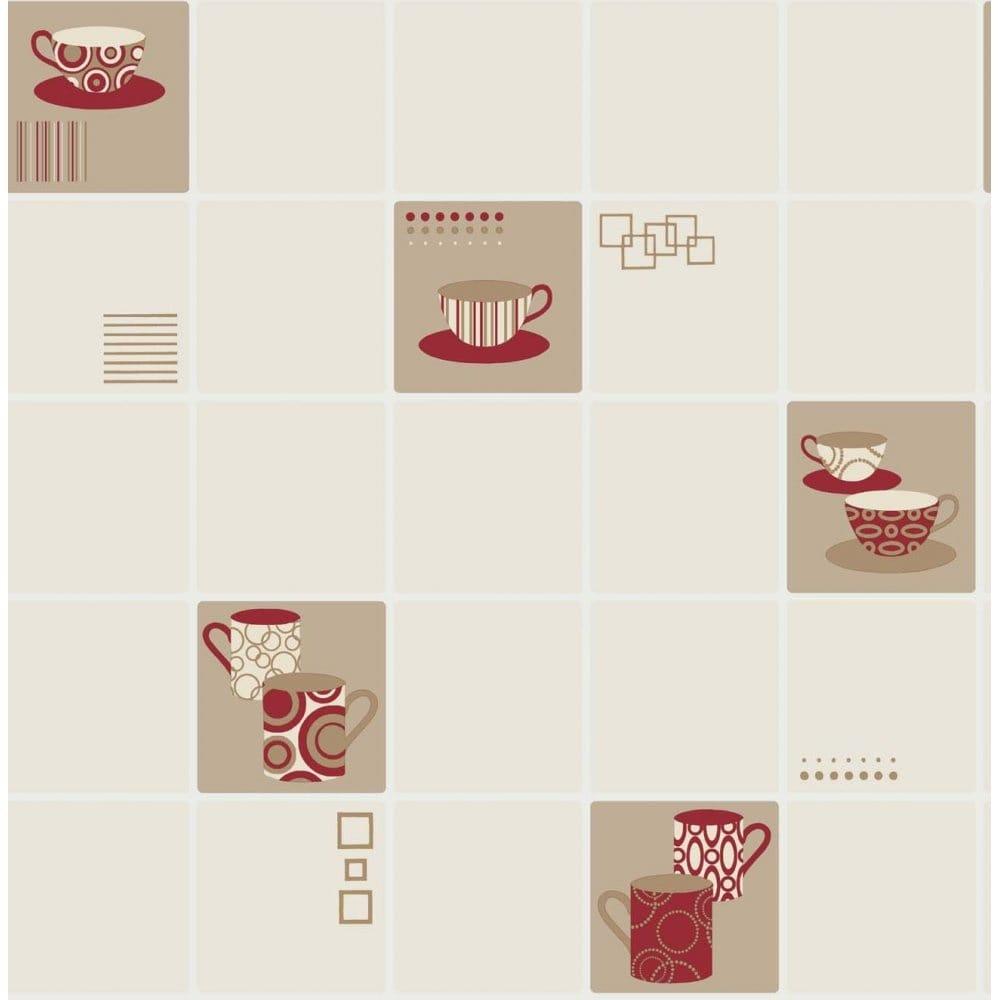 Fine Decor Ceramica Retro Mugs Wallpaper Crimson Red