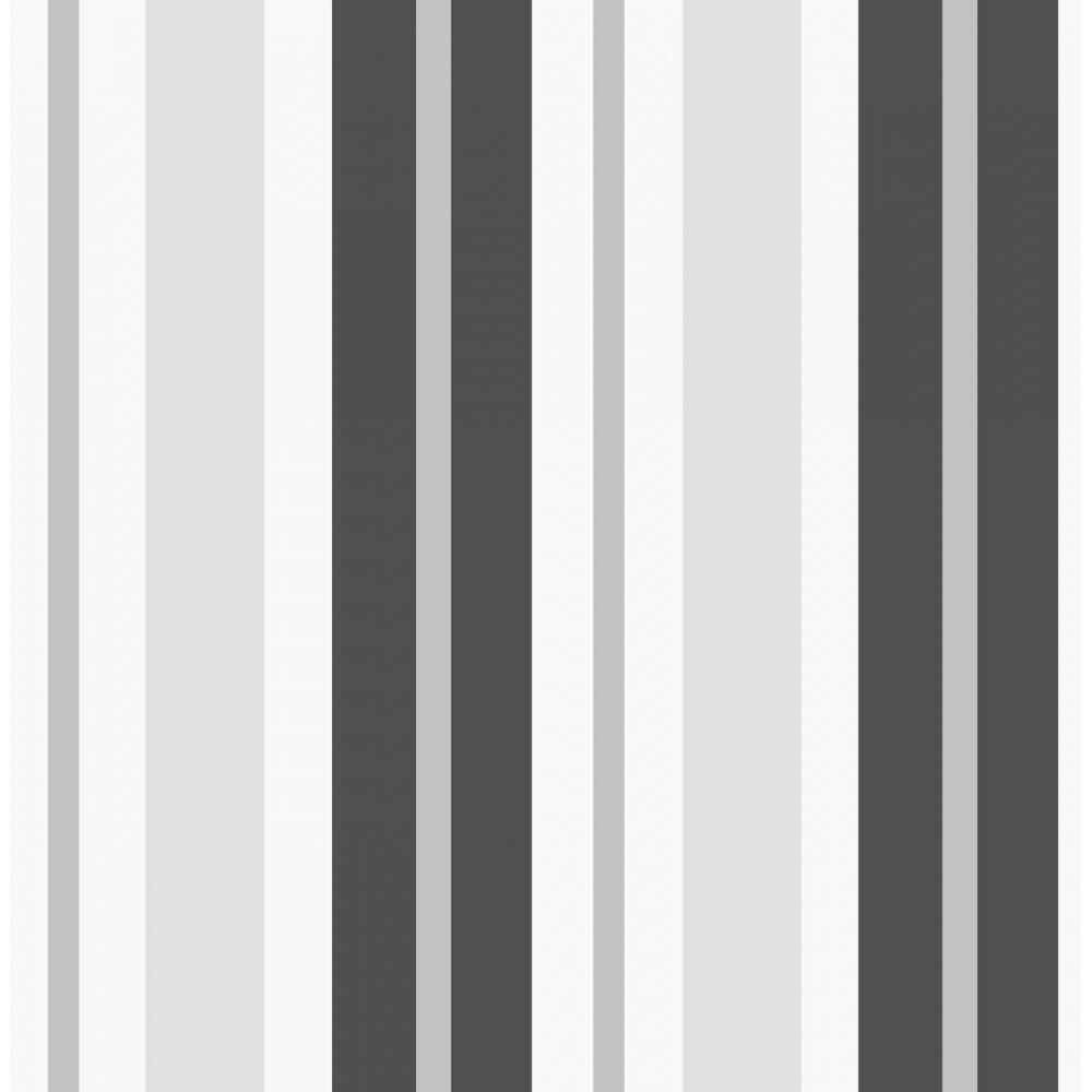 Fine Decor Ceramica Stripe Wallpaper Black / Silver