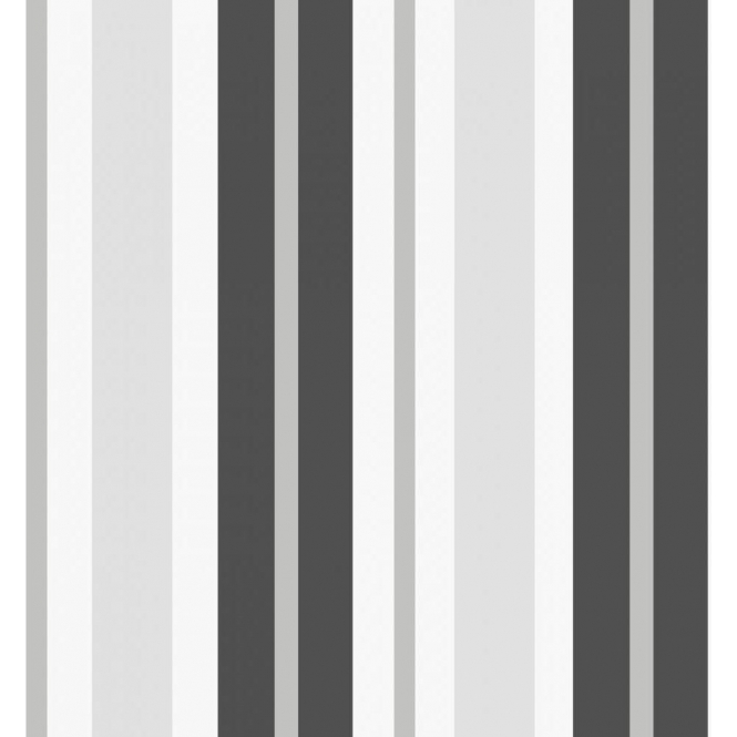 Fine Decor Ceramica Stripe Wallpaper Black / Silver / White (FD40377)