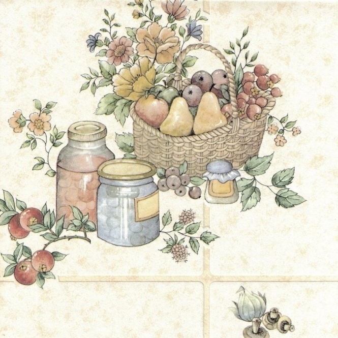 Fine Decor Ceramica Tile Pots & Pans Wallpaper Cream (12475)