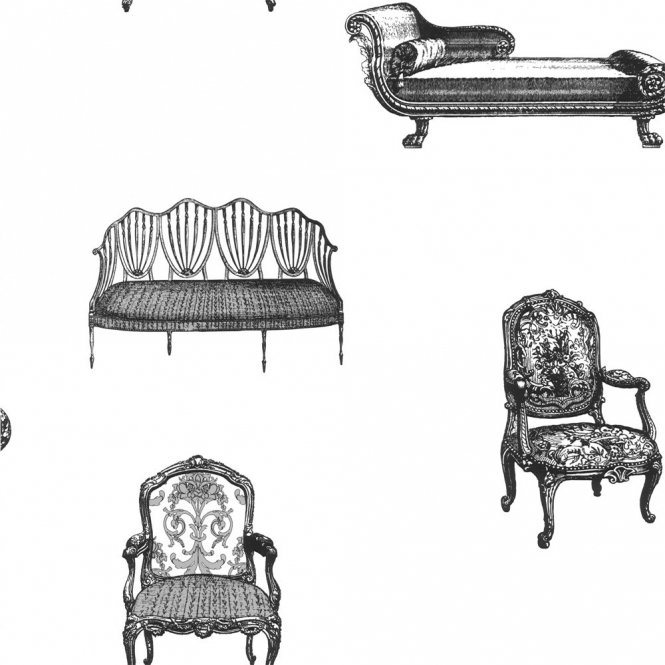 Designer Selection Chairs Wallpaper Black / White (01429CHAIR)