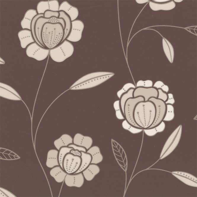 Graham & Brown Charming Wallpaper Chocolate Brown / Cream / Gold (17608)