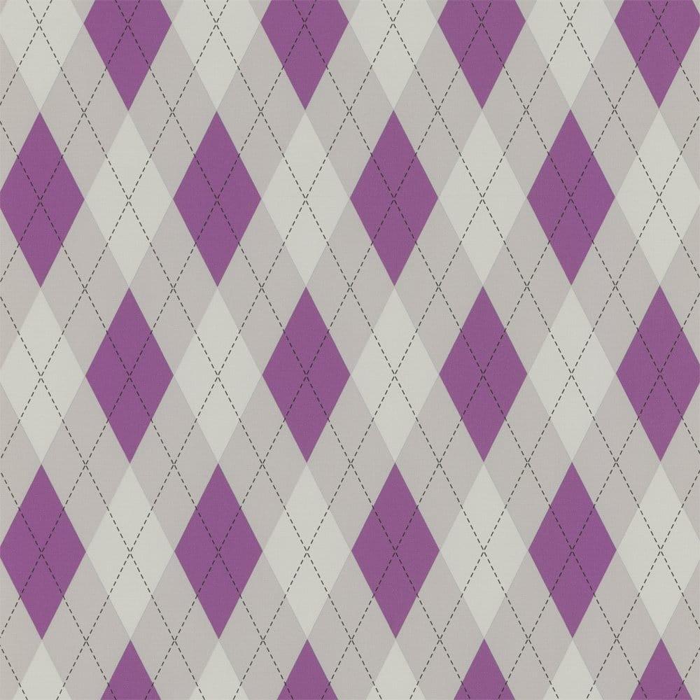 2edea69d88 Caselio Check Wallpaper Cream / Soft Grey / Purple (57355064 ...