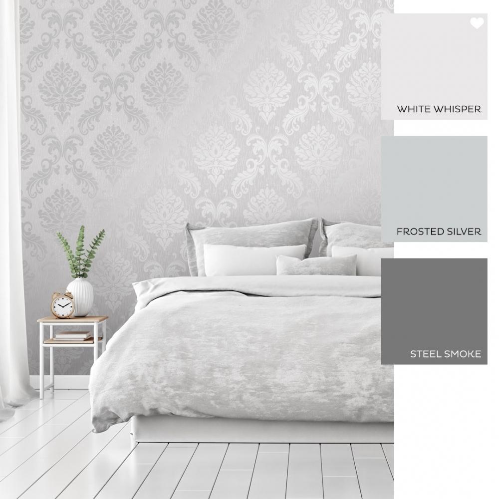 Chelsea Glitter Damask Wallpaper Soft Grey Silver