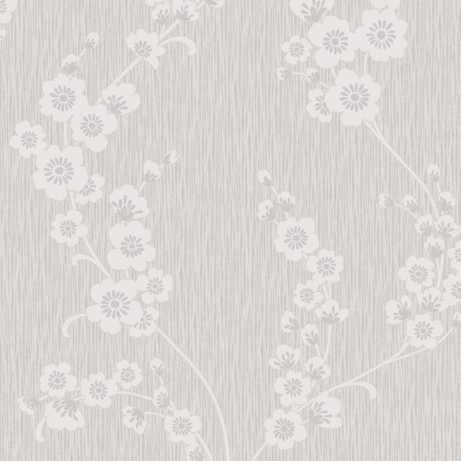 Henderson Interiors Chelsea Glitter Floral Wallpaper Soft Grey / Silver (H980506)