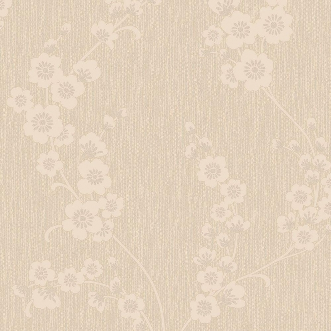 Henderson Interiors Chelsea Glitter Floral Wallpaper Taupe / Silver (H980514)