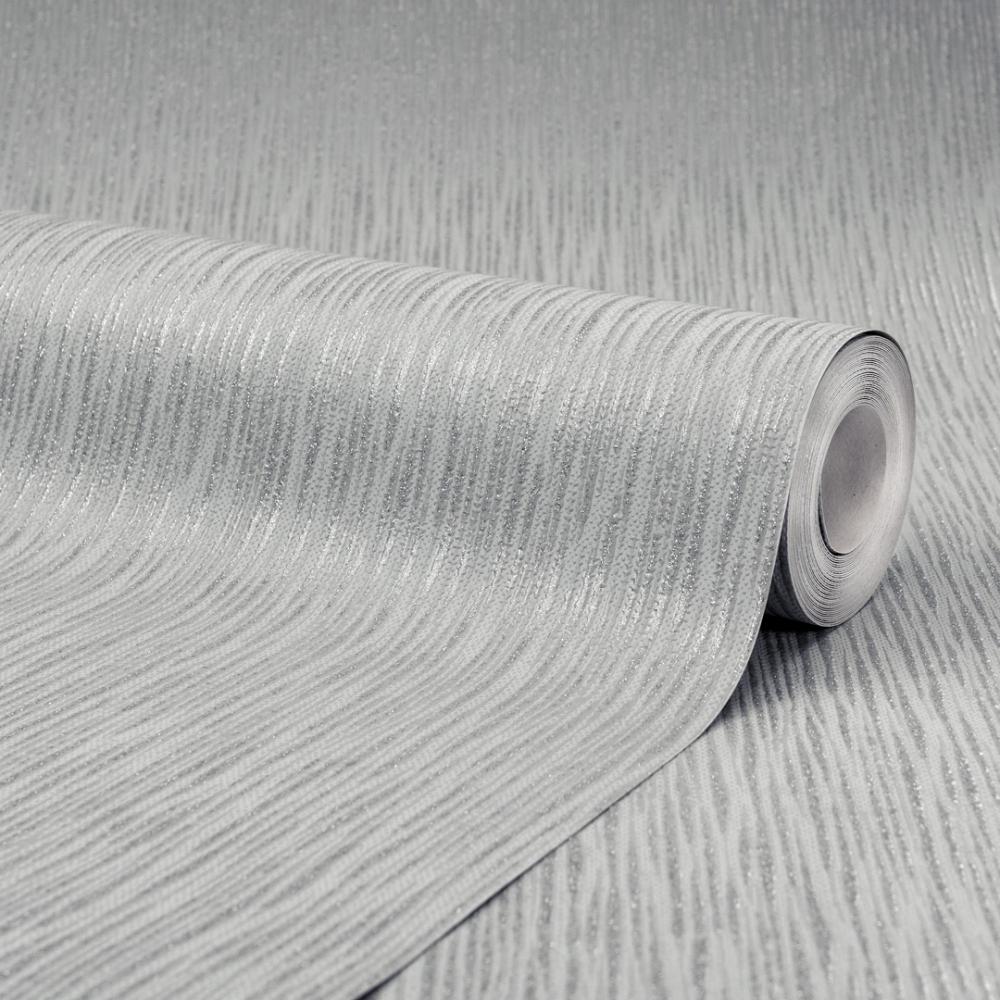 Chelsea Glitter Plain Textured Wallpaper Soft Grey Silver
