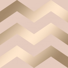 Chevron Geometric Wallpaper Pink Gold