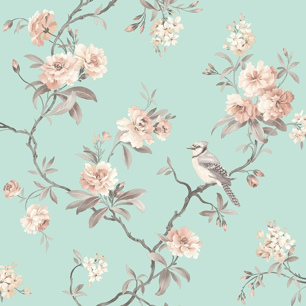 fine decor chinoiserie floral wallpaper duck egg